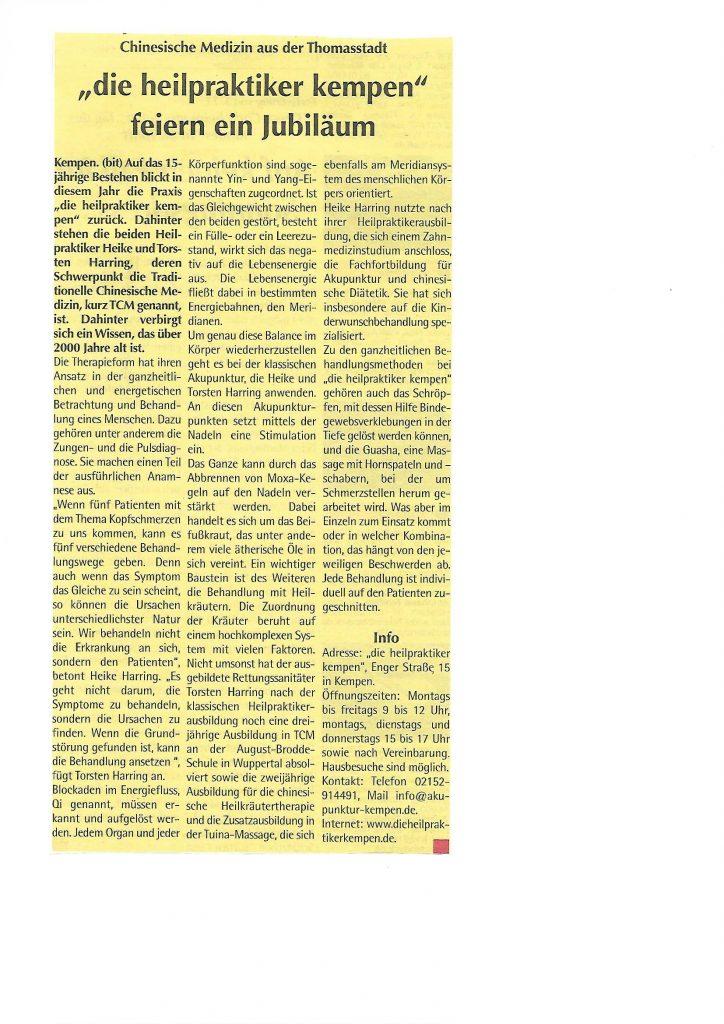 NIB Artikel 15 Jähriges Praxisjubiläum